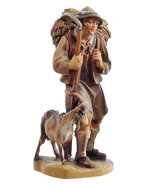 Shepherd with basket and goat