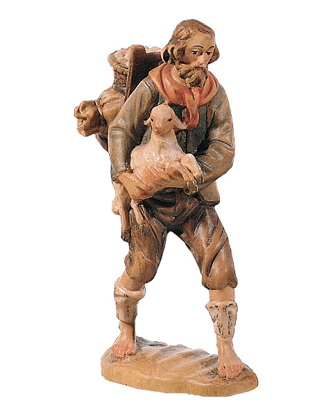 Shepherd with load and lamb
