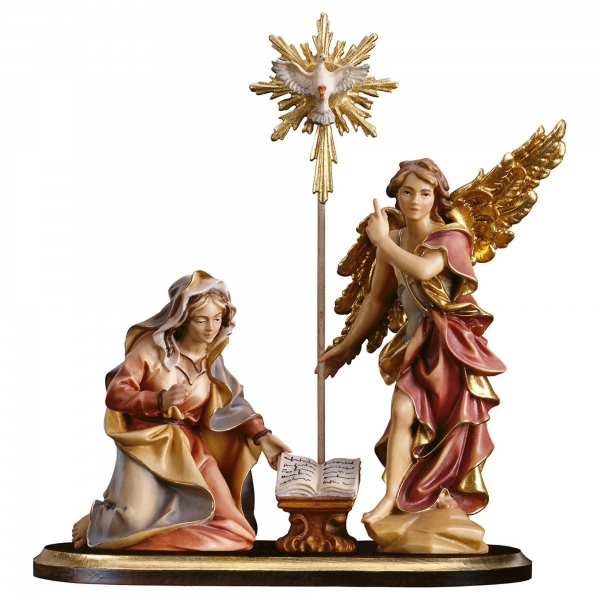 Annunciation group on pedestal - 5 Pieces